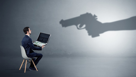 Businessman staying and offering stuffs for an armed shadow hand