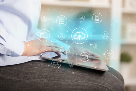 Business woman using tablet with cloud technology concept Stock Photo
