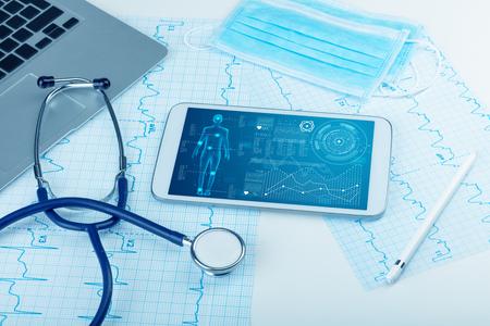 Medical full body screening software on tablet Stok Fotoğraf