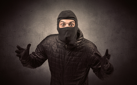 Burglar with tool. Stok Fotoğraf