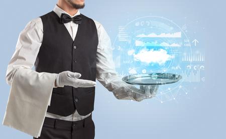 Waiter serving cloud technology concept Stock Photo