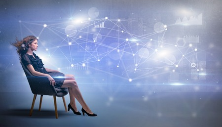 Woman sitting with network and connection concept Banco de Imagens - 112752695