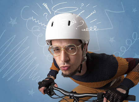 Crazy rider on the bike