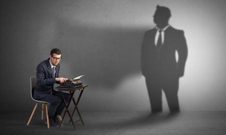 Shadow threatening hard worker man