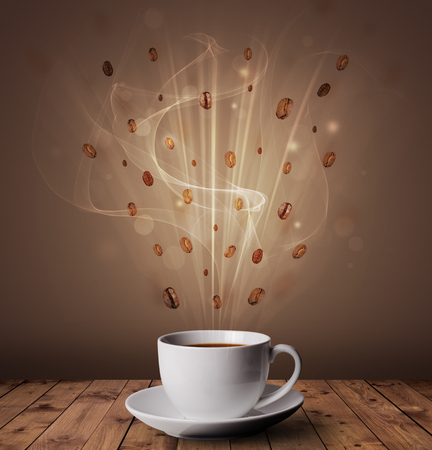 Steaming hot coffee