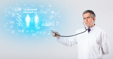 Professional researcher with stethoscope Imagens