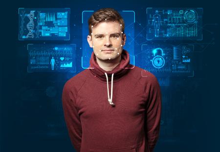 reconnaissance du visage jeune homme