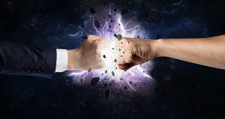 Fighting hands with storm explosion Banque d'images