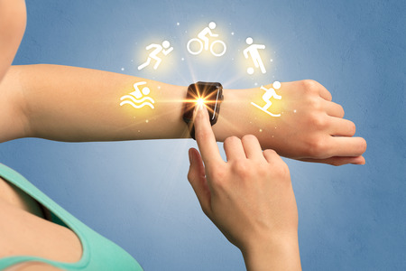 Hand with smartwatch.