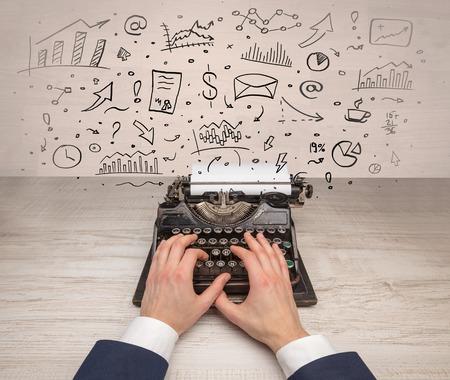 Vintage typewriter with doodles around Imagens