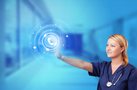 Person touching clinic call center concept