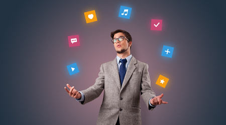 Person juggle with application icons