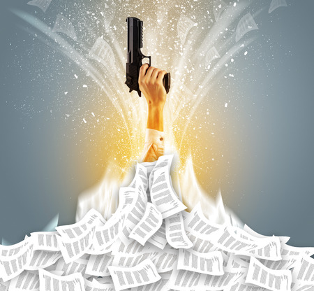 Hand buried in document pile and breaking out from it  Stock Photo