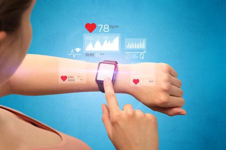 Cardio and smartwatch. 스톡 콘텐츠