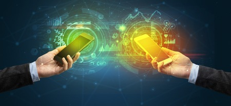 two smartphones, business and communication concept