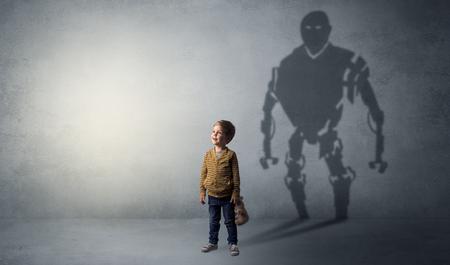 Robotman shadow of a cute little boy Stock Photo