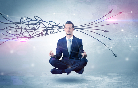 Businessman meditates with purifying doodle concept 스톡 콘텐츠