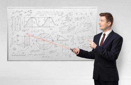Professor on whiteboard teaching geometry