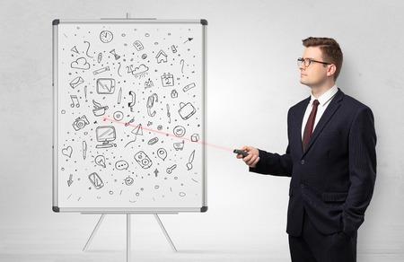 Professor on whiteboard teaching