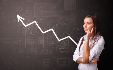 Person standing with increasing graph concept