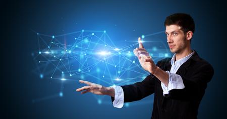 Man touching web hologram