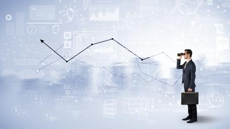 Man looking forward to increase graph concept Stockfoto