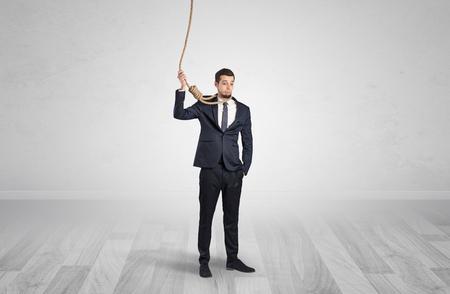 Responsable man on the verge of suicide Foto de archivo