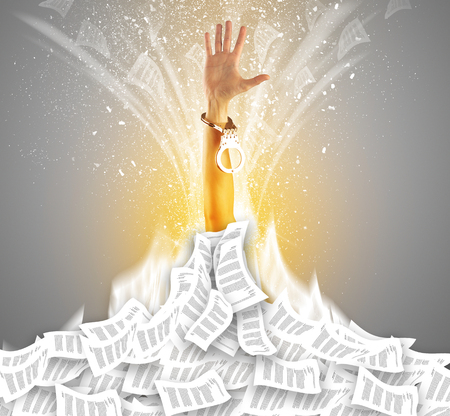 Hand buried in document pile Stock Photo - 117463753