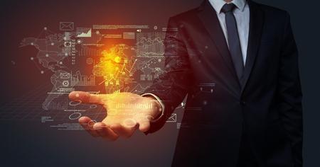 Businessman holding communication concept