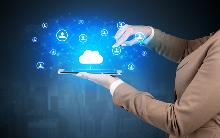 Cloud and connectivity concept on a tablet