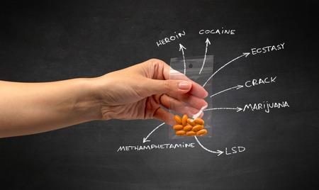Handing over pills with blackboard wallpaper