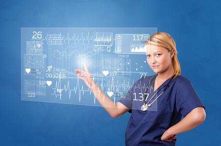 Person touching light blue hologram screen Stockfoto