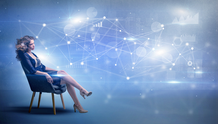 Woman sitting with network and connection concept Banco de Imagens - 117069410