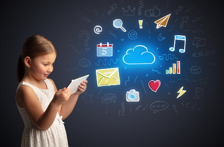 Girl holding tablet with applications concept Stock Photo