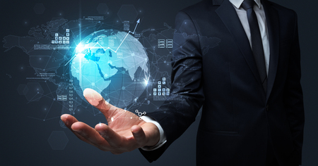 Global internet using concept with businessman Stockfoto