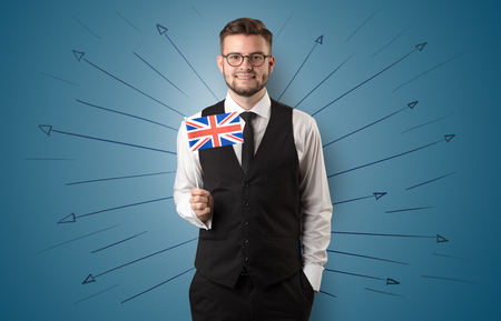 Man standing with flag and destination concept