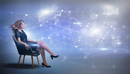 Woman sitting with network and connection concept Banco de Imagens - 117364541