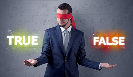 Man with ribbon on his eye making decision Stockfoto