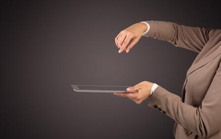 Mockup female hand holding tablet 免版税图像