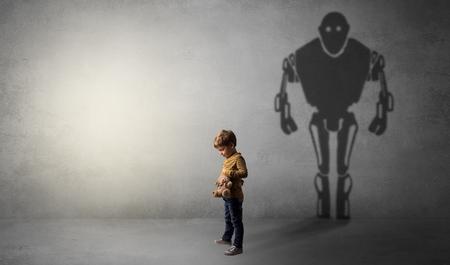 Robotman shadow of a cute little boy Фото со стока