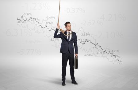 Desperate businessman with decreasing loss concept