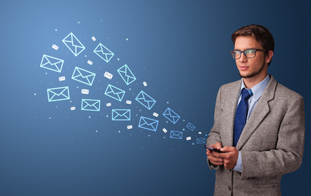 Businessman using phone with online communication concept around Imagens - 119323633