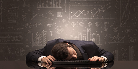 Elegant teacher fell asleep at his workplace with full draw blackboard concept Foto de archivo