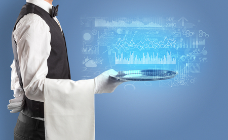 Waiter serving fluctuation concept and charts on a tray