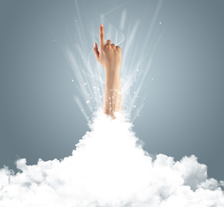 Hand breaking out from cloud Stock Photo - 119417207