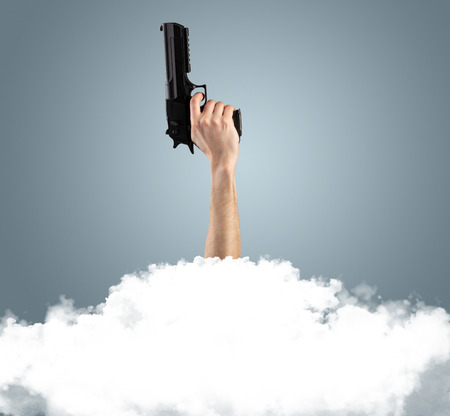 Hand breaking out from the cloud Stock Photo - 119417449