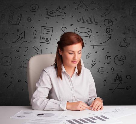 Young secretary with doodle multitask concept Reklamní fotografie