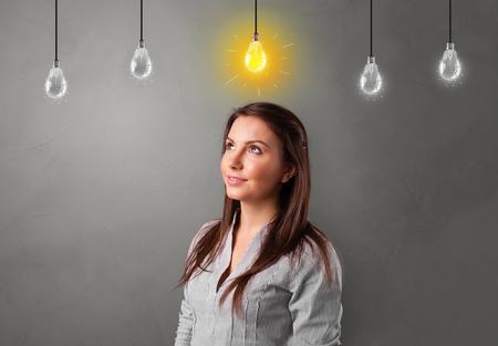 Young student looking for new idea with lighting bulb concept
