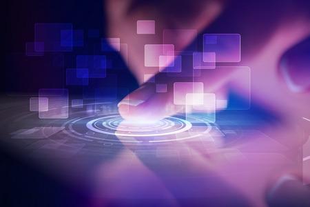 Tablette tactile avec concept d'identification et fond sombre