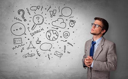 Junge Person, die mit Büroproblemen-Konzept denkt Standard-Bild
